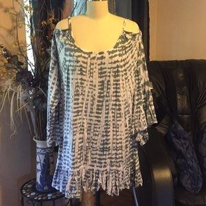 Tiare Hawaii long sleeve cold shoulder dress L